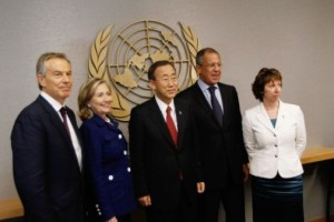 (L-R) Quartet Representative Tony Blair, U.S. Secretary of State Hillary Clinton, UN Secretary General Ban Ki-Moon, Russian Foreign Minister Sergei Lavrov, and EU representative Catherine Ashton
