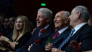 Shimon Peres, Bill Clinton and Barbara Streisand at Peres' 90th birthday celebration