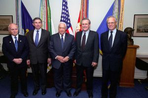 David Ivry, Paul D. Wolfowitz,  Ariel Sharon, Donald H. Rumsfeld, and Martin Indyk, at the Pentagon, March 2001