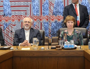 Catherine Ashton and Mohammed Zarif at the UN in September