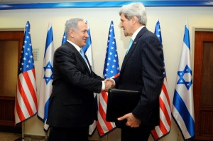 US Secretary of State John Kerry is greeted by Israeli Prime Minister Benjamin Netanyahu as he arrives at his office in Jerusalem on March 31, 2014, for peace talks with his government and Palestinian Authority leaders. Credit: State Department