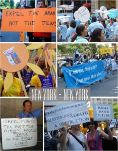 Nationalistic signs at Salute to Israel Day in New York, July 2006 Photo by Rabih/Public Domain